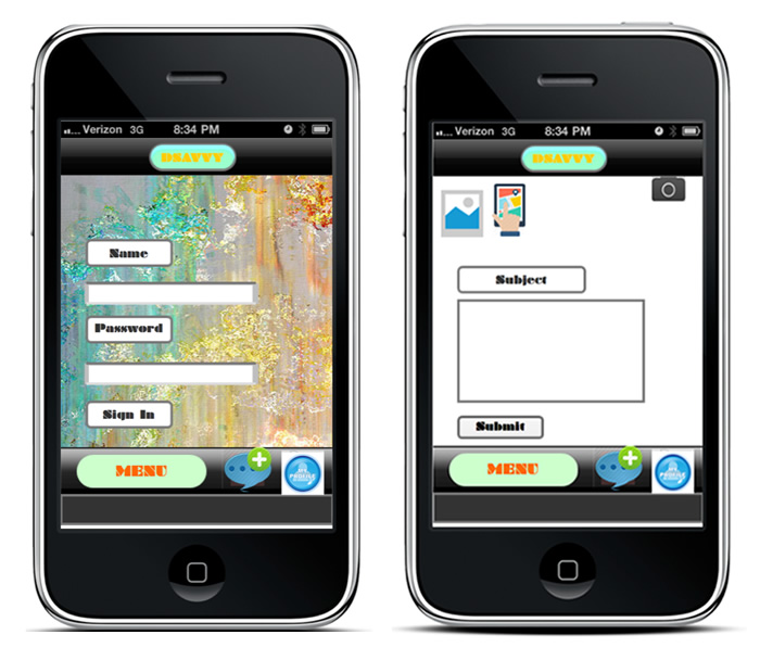 Mobile application user interface screens